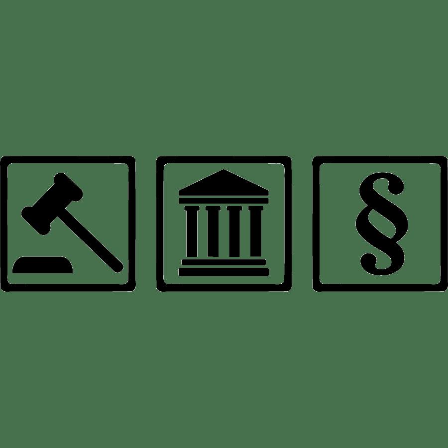 Gerichtssymbole: Hammer, Gerichtsgebäude, Paragraf