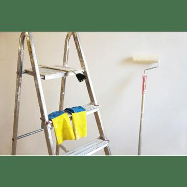 Bild - Leiter und Anstreichrolle vor Wand